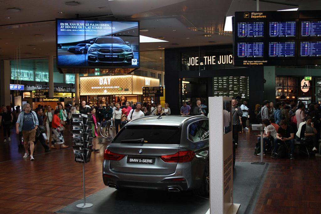 bmw car display in copenhagen airport